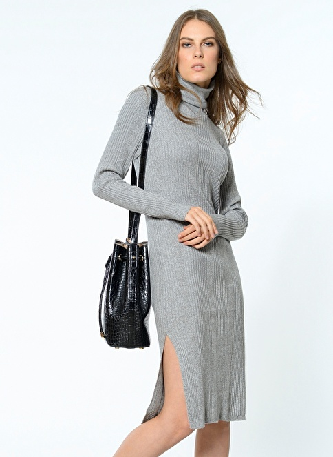 Vero Moda Triko Elbise Gri